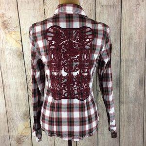 Guess Jeans Plaid Snap Long Sleeve Shirt Sz M